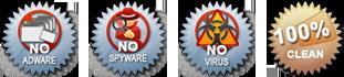 No Adware, No Spyware, No Virus, 100% Clean